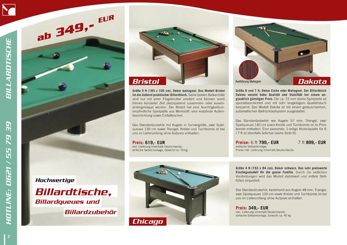 Katalog für Billiard-Bedarf