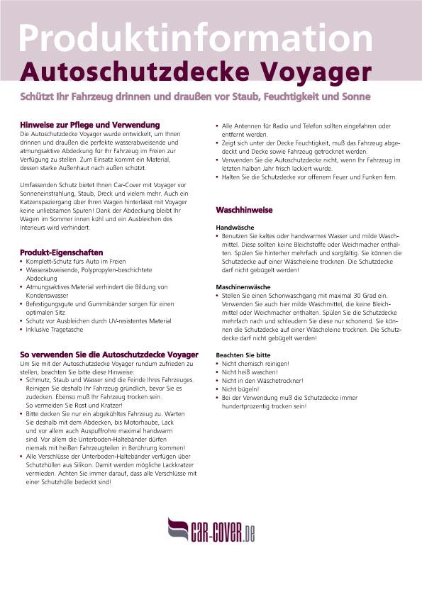 CAR-COVER: Produktinformationen für Autoschutzdecken
