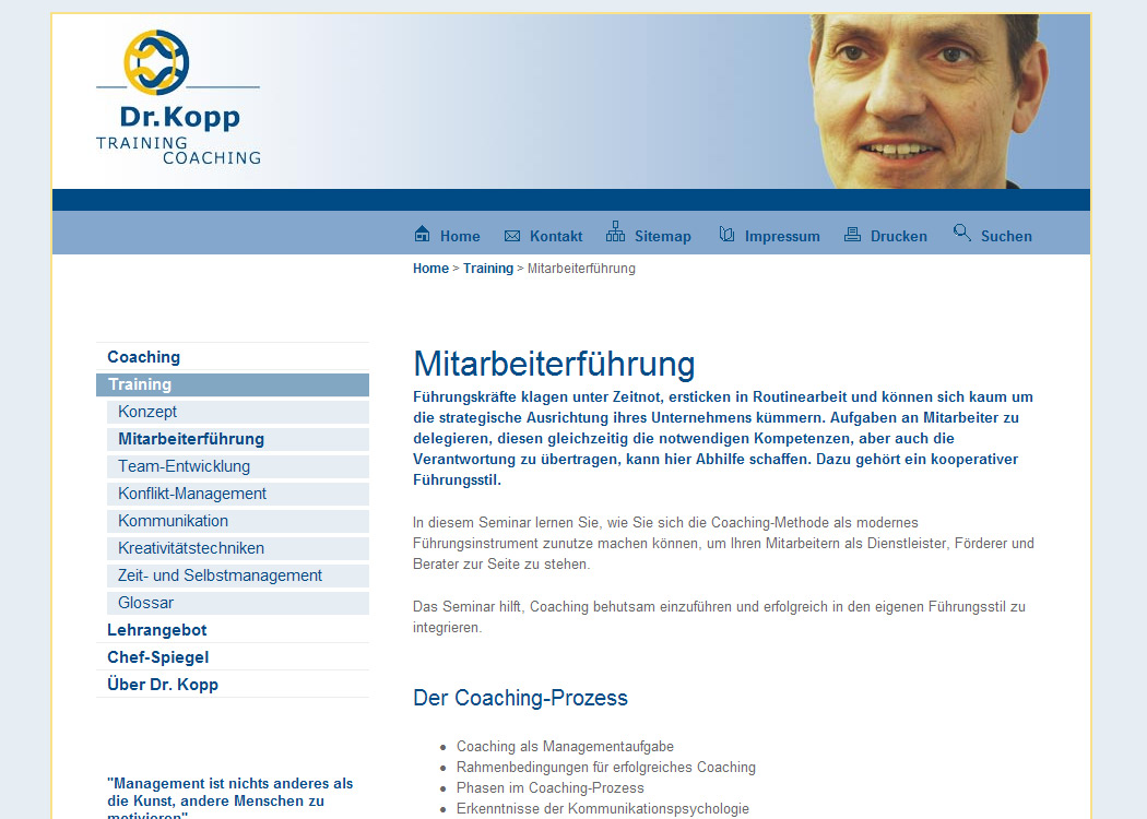 Webseite für Trainer und Coach Dr. Kopp