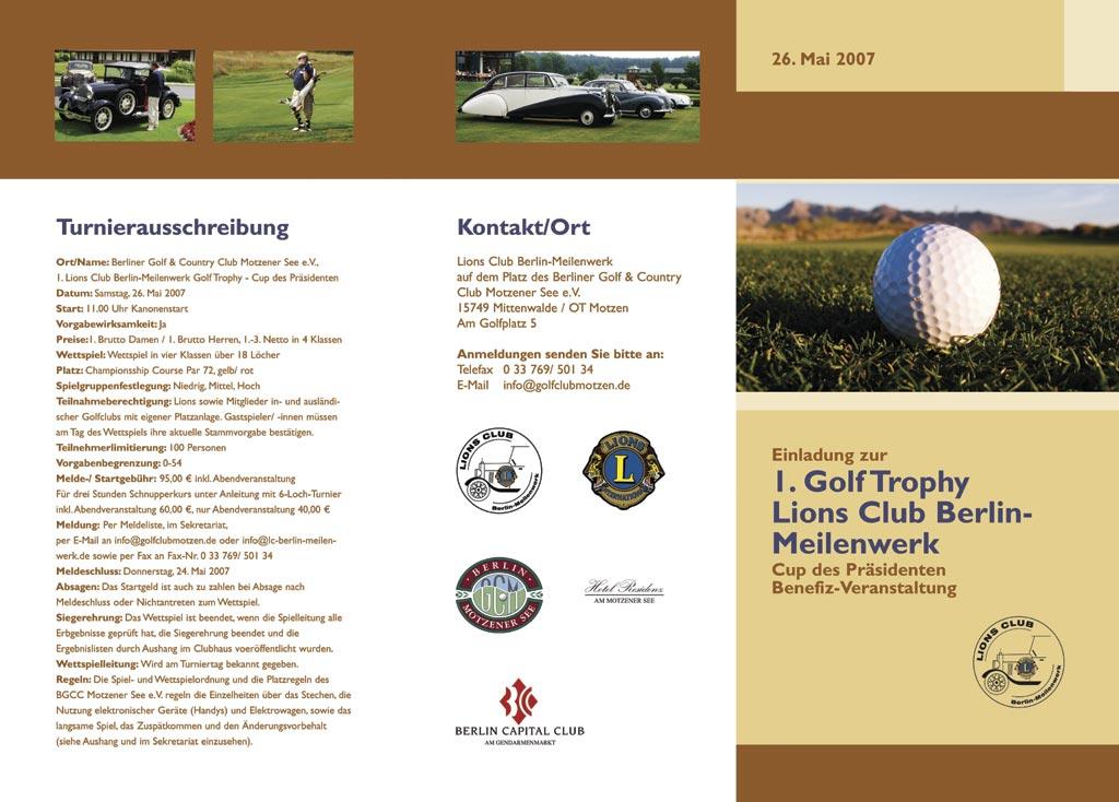 Einladung zum Golf-Tournier für Lions Club