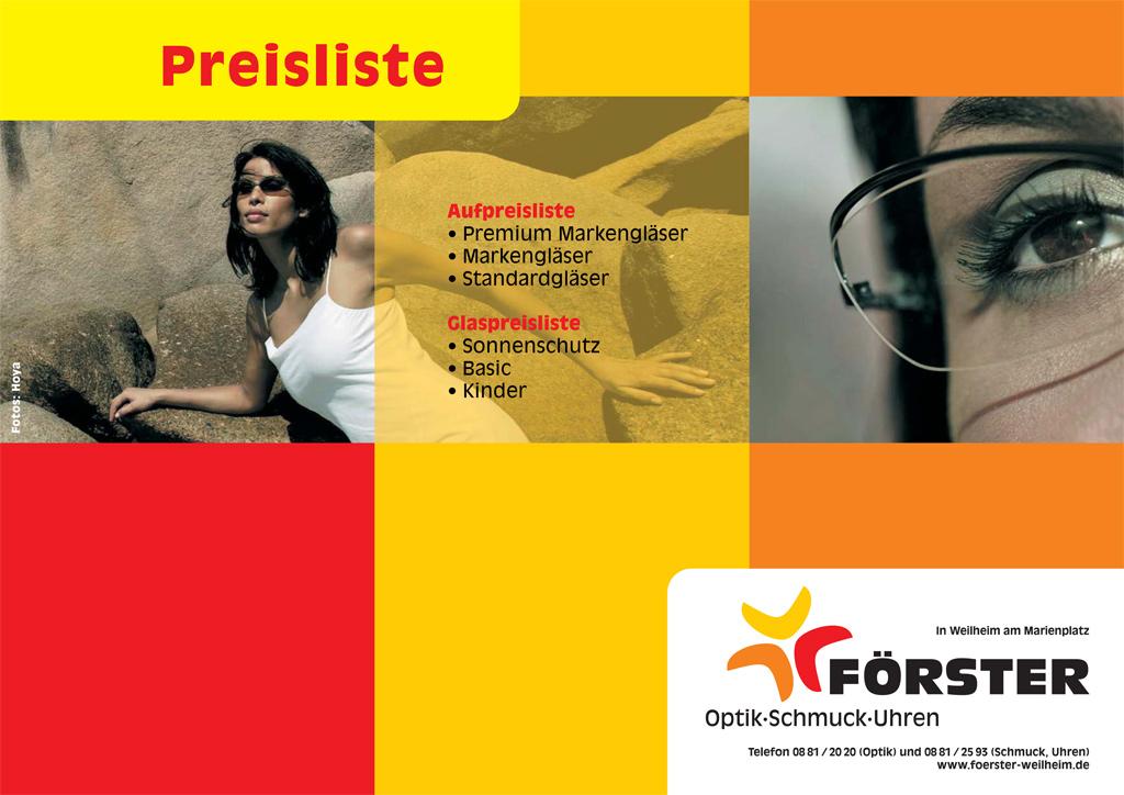 Preisliste Brillen und Gläser für Förster Optik