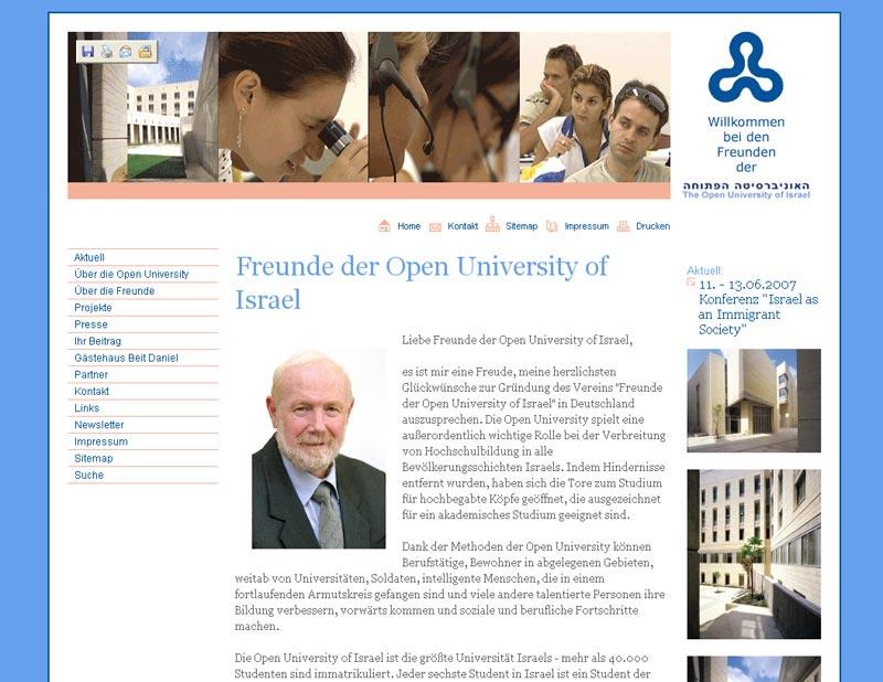 Webseite für die Freunde der Open University of Israel
