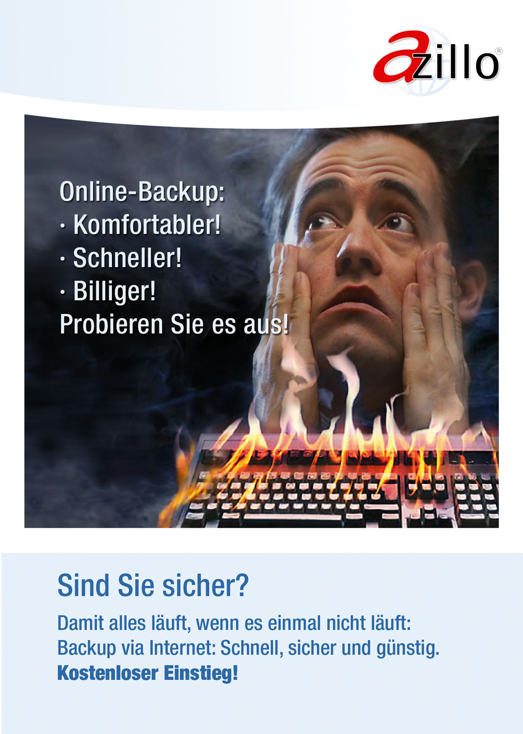 Flyer Azillo Online-Backup für Privatkunden für ITS AG
