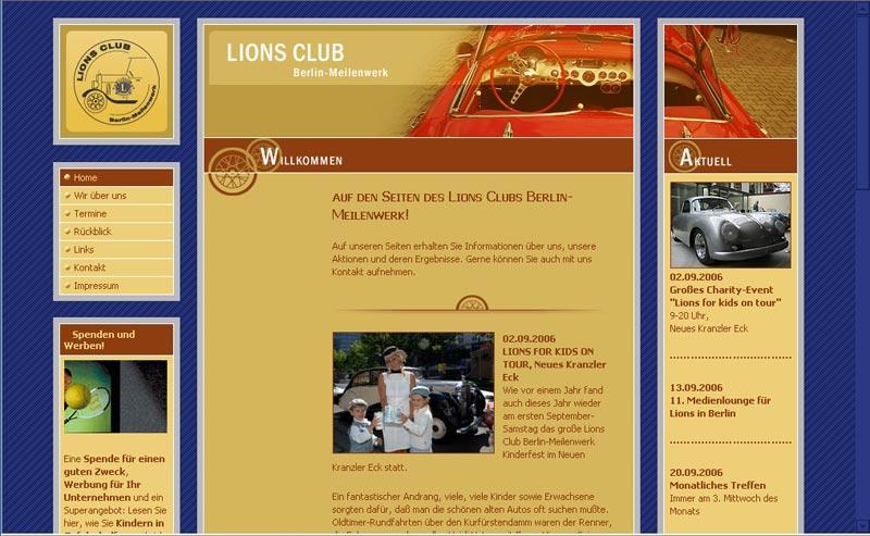 Webseite für Lions Club