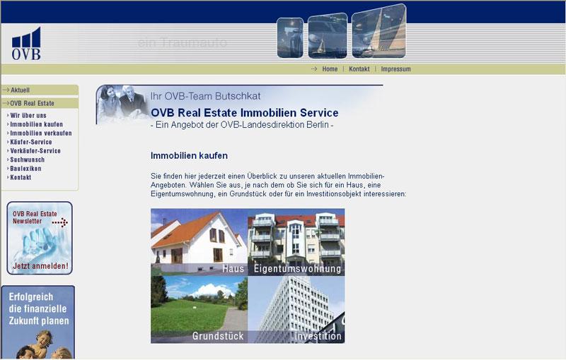 Webseite für OVB Real Estate Immobilien Service