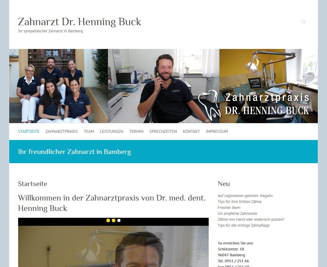 Webseite für Zahnarzt Dr. Buck