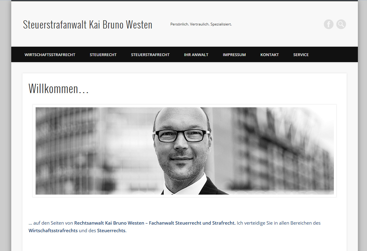 Webseite für Rechtsanwalt Westen